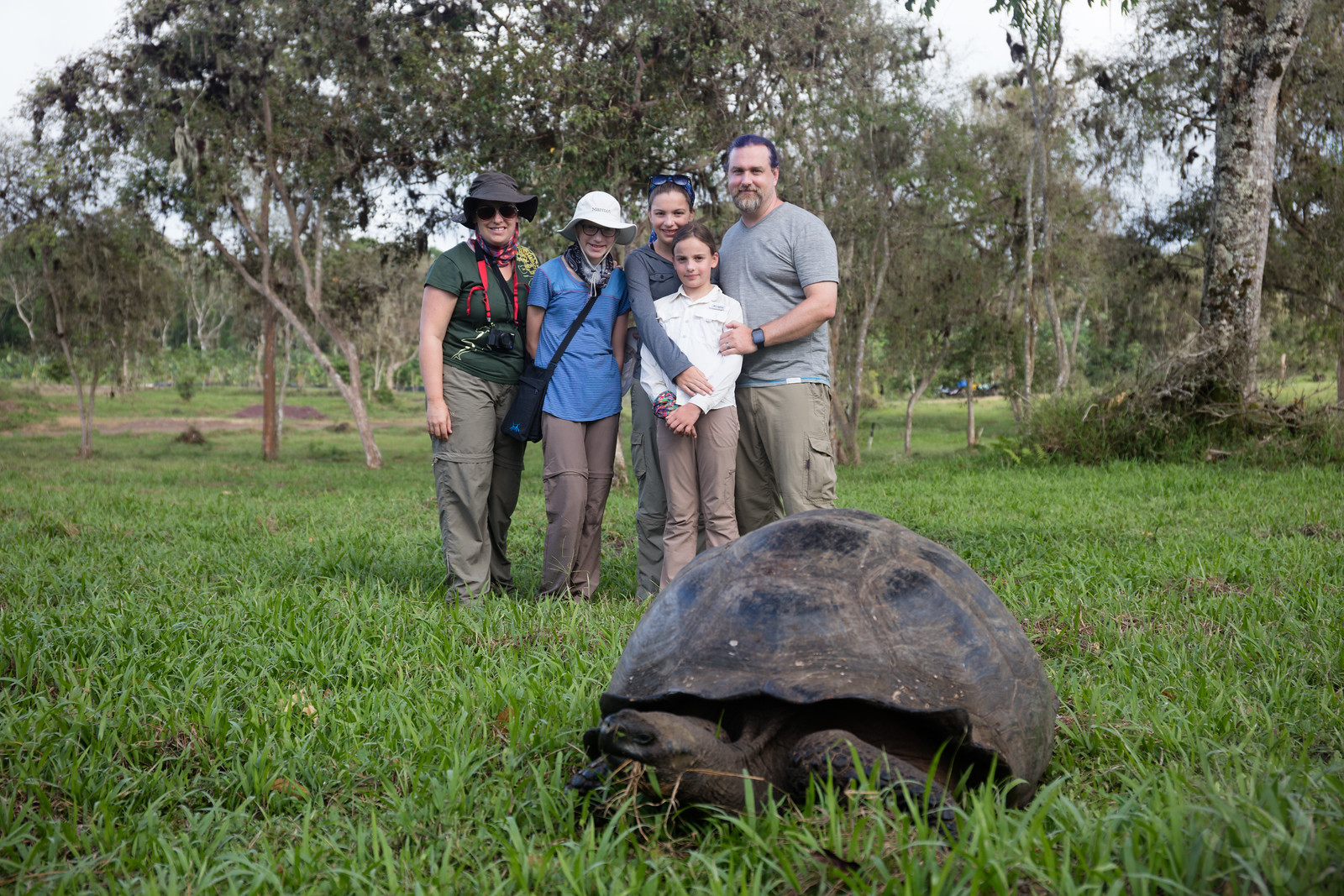 family standing behind large tortoise